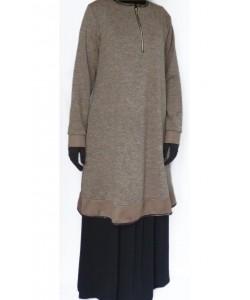 Pull tunique avec zip