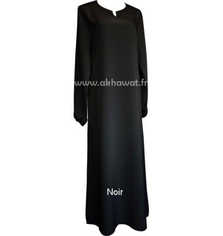 Abaya manches élastiquées - Microfibre Koshibo - El bassira - noir