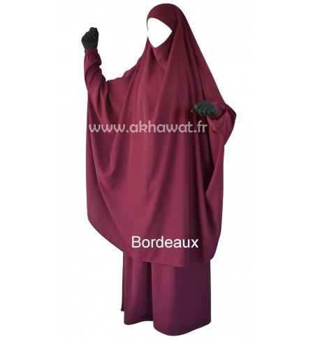 Butterfly jilbab with sleeves - 2 pieces - Light microfiber