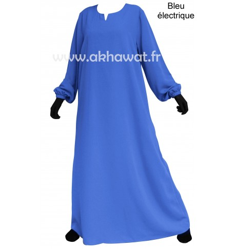 Flared abaya with elastic cuffs - Light microfibre