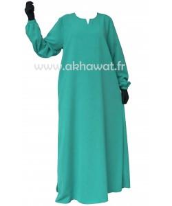 Abaya évasée manches élastiquées - Microfibre léger - El bassira