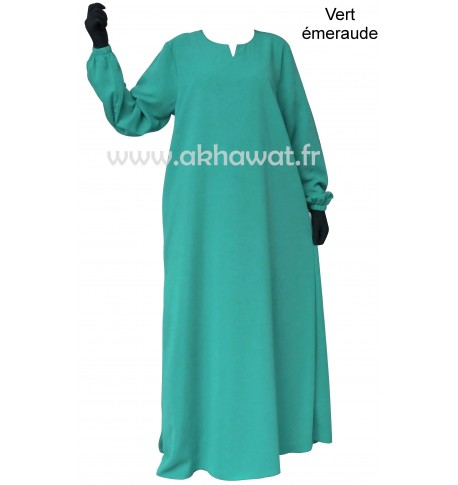 Flared abaya with elastic cuffs - Light microfibre