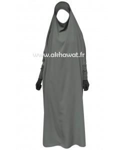 Jilbab 1 pièce - Bandeau et manches stretch - Microfibre léger - noir