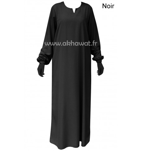 Abaya with elastic cuffs - Light microfibre
