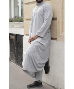 Qamis Qatari peau de pêche simple - Avec pantalon
