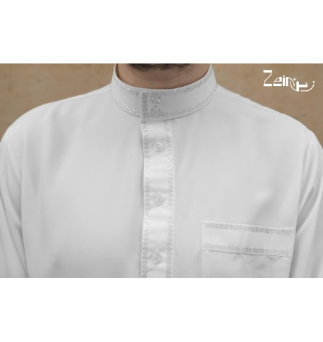 Qamis Qatary Embroidered - Peach Skin - With Pants