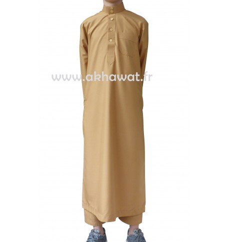Qamis Qatari for boys - Peach skin - With pants