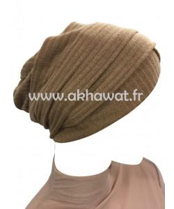Bonnet turban en maille rayée