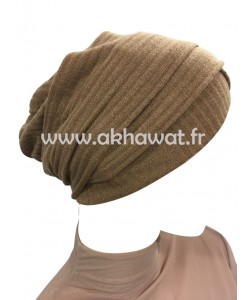 Striped knit turban cap