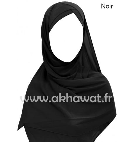 Hijab bonnet intégré croisé - Bi-matière