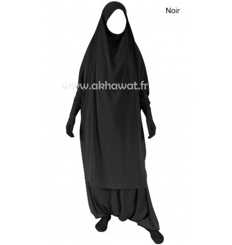 Stretch sleeves Jilbab with harem pants - Light microfibre